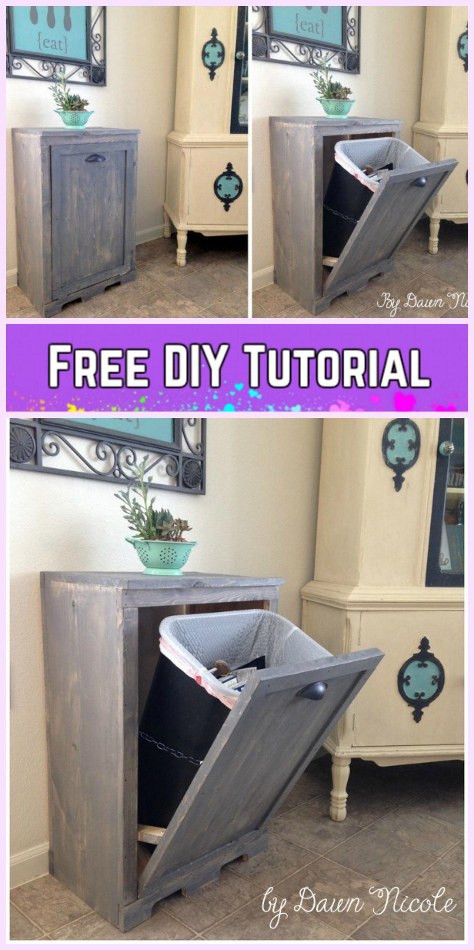 Diy tilt out trash can cabinet tutorials leftoverwoodprojects