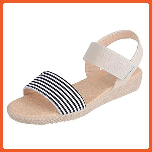 Summer Sandals Inkach Women Summer Bohemia Stripe Sandals Clip Toe Beach Shoes