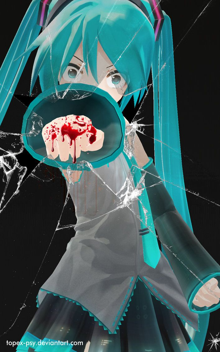 Vocaloidmiku Punch Broken Glass Wallpaper Screen Pinterest