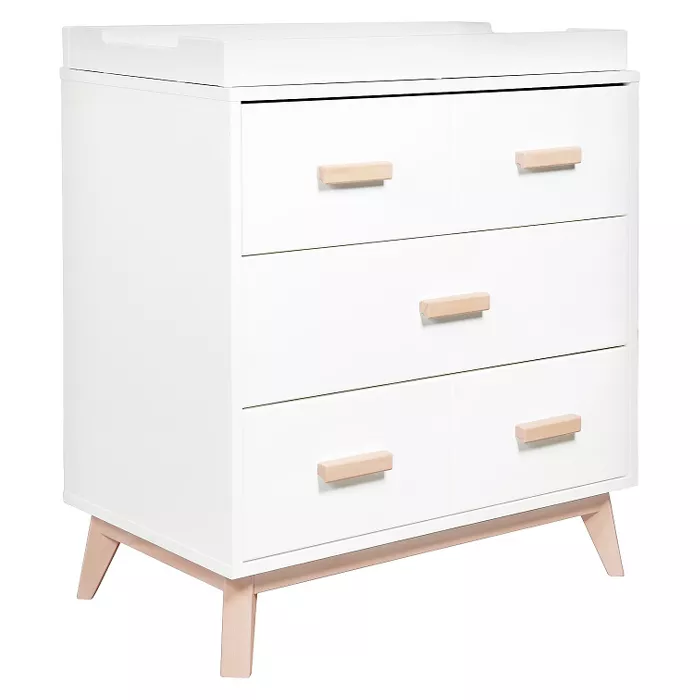 Babyletto Scoot 3 Drawer Changer Dresser White Washed Natural