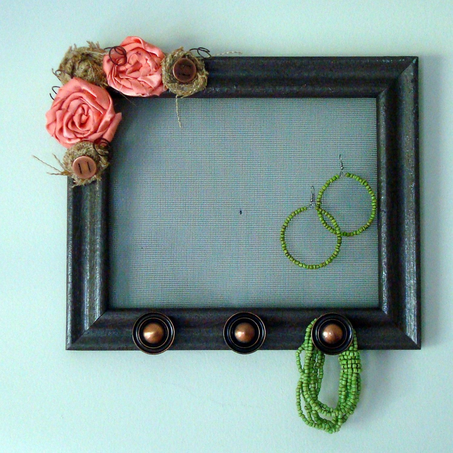 Jewelry Holder Beautiful Upcycled Framed Jewelry Organizer with