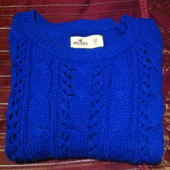 Hollister royal blue cable knit sweater in great condition ...