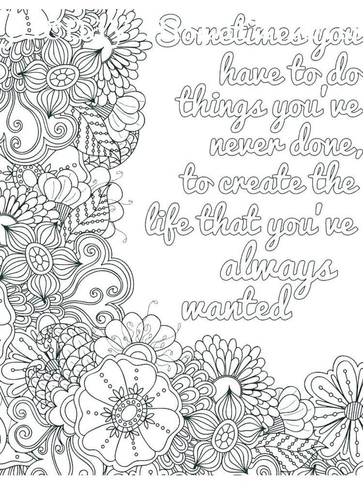 Inspirational Quote Coloring Pages For Adults Printable Coloring