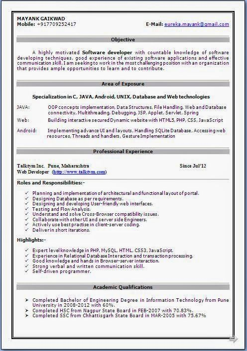 best sample cv Beautiful Curriculum Vitae   Resume Format with - resume formats for freshers download