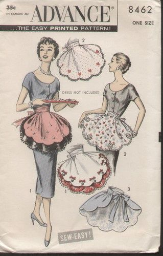 Advance 8462 Vintage 1950s Fancy Hostess Apron Pattern | eBay ...
