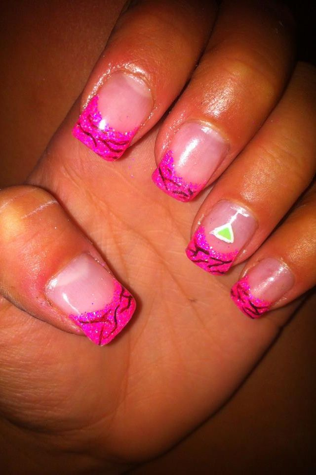 Pink tips with martini glass nails | Awesome nail art | Pinterest