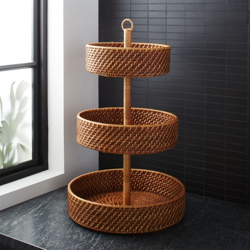 Vintage Fruit Design Glass Oval Basket Style Bowl Bamboo Wicker Handle