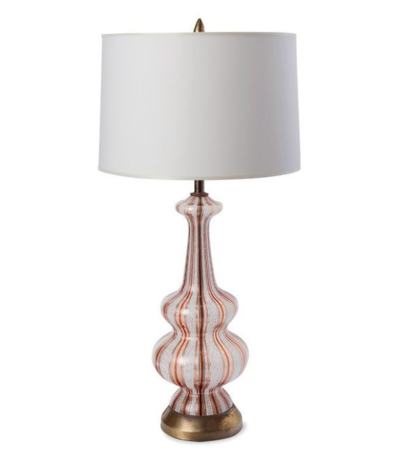 Vintage Murano Glass Table Lamp, Orange & Copper, Shade Not