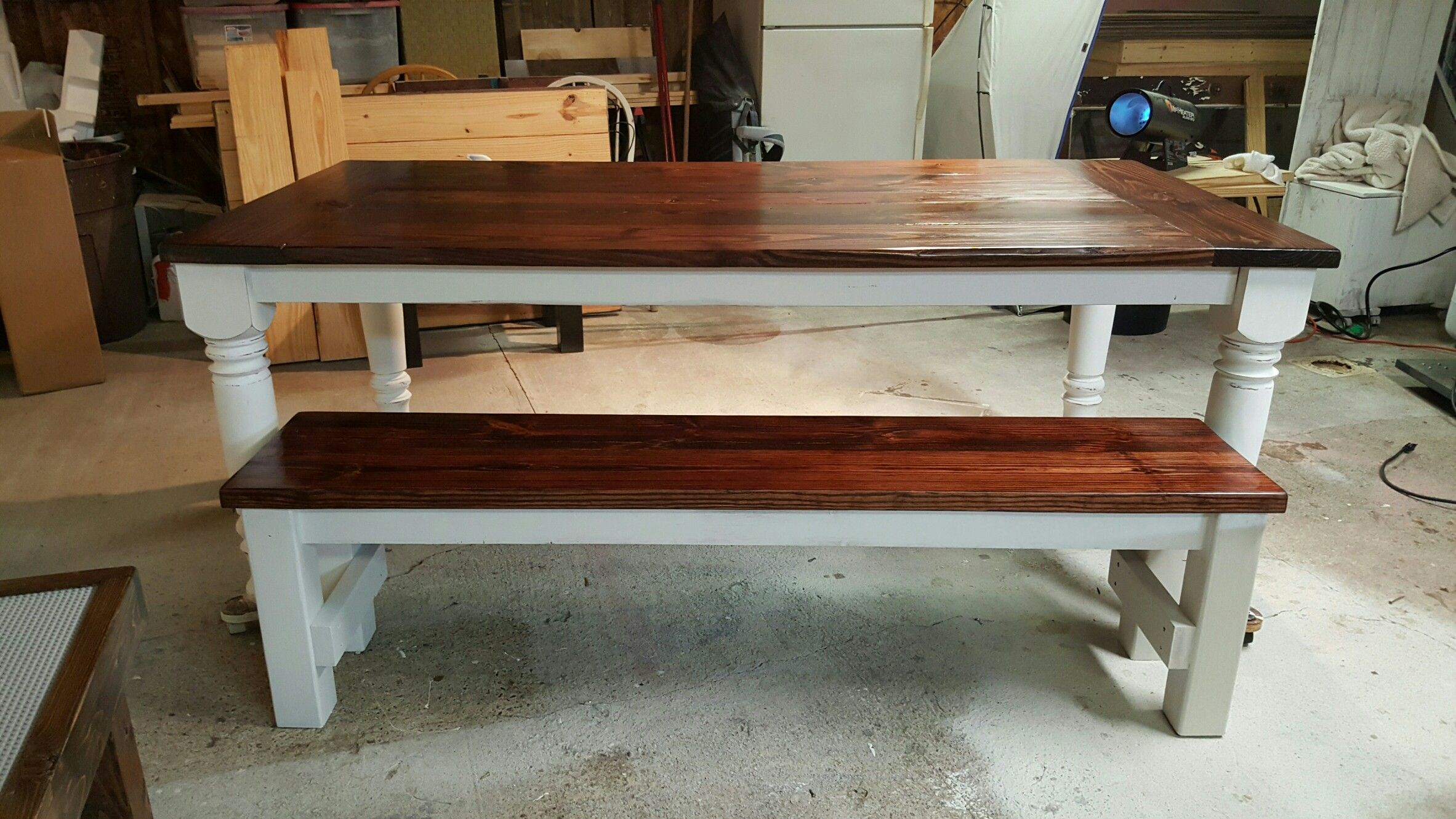 7 Ft X 3.5 Farm House Table Red Mahogany Top Distressed With Base 5 Inch  Legs With A Bench. #FarmtablesnmorebyJerrod #Distressed #Farmtable  #Diningset ...