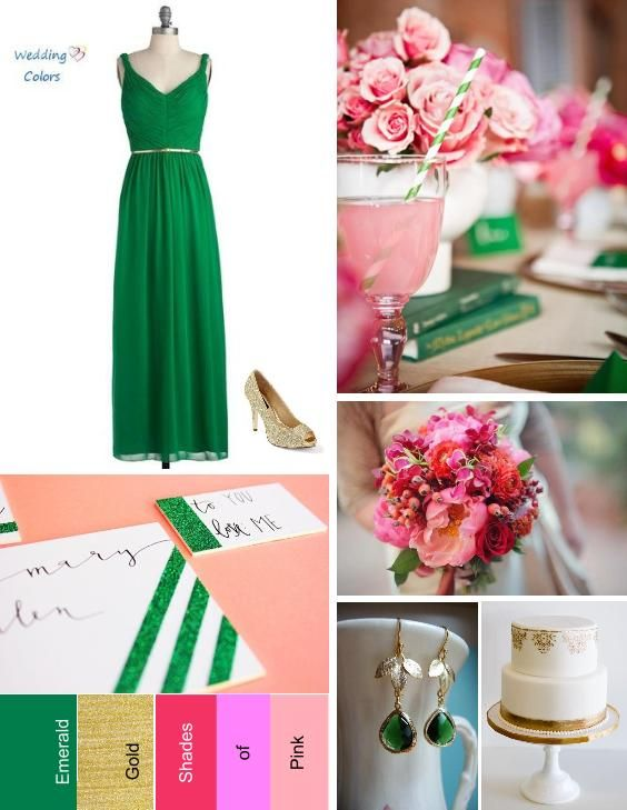 A Palette of Emerald, Gold and Shades of Pink | Weddings, Wedding ...
