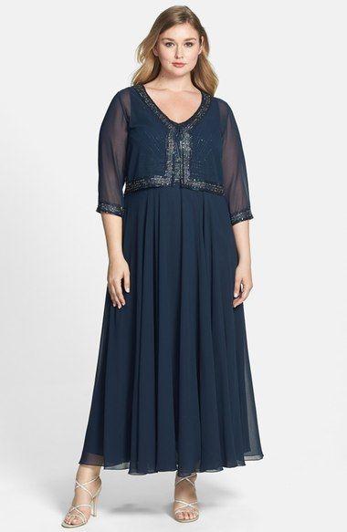 J Kara Beaded Chiffon Dress Bolero Jacket Plus Size Available At