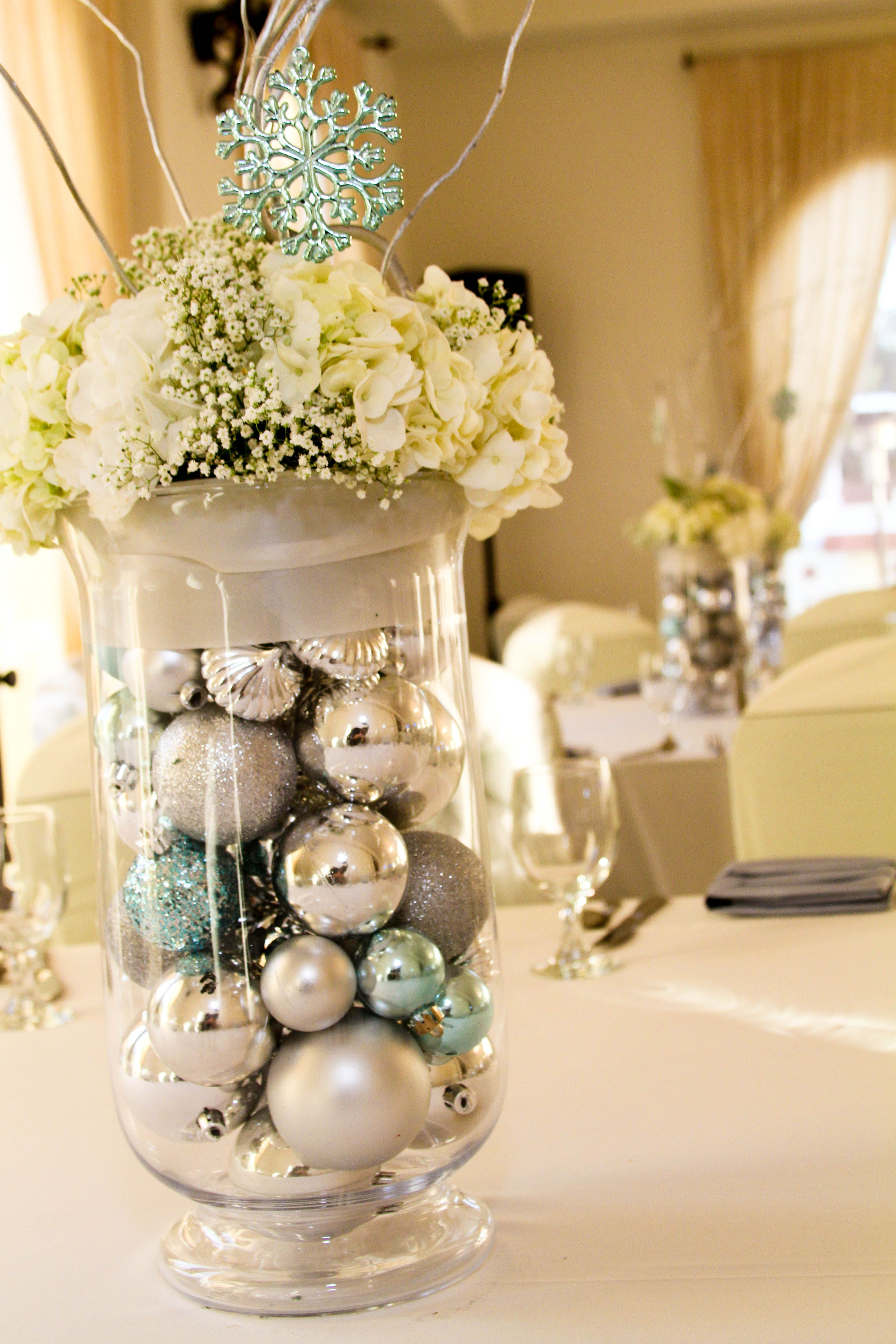 Beautiful Winter Themed Centerpiece Wedding