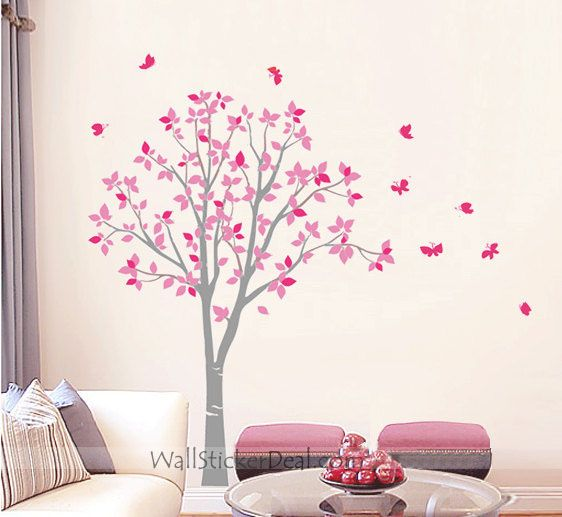 Tree With Butterfly Wall Stickers Tree Wall Decals Pinterest - Wall decals butterfliespatterned butterfly wall decal vinyl butterfly wall decor