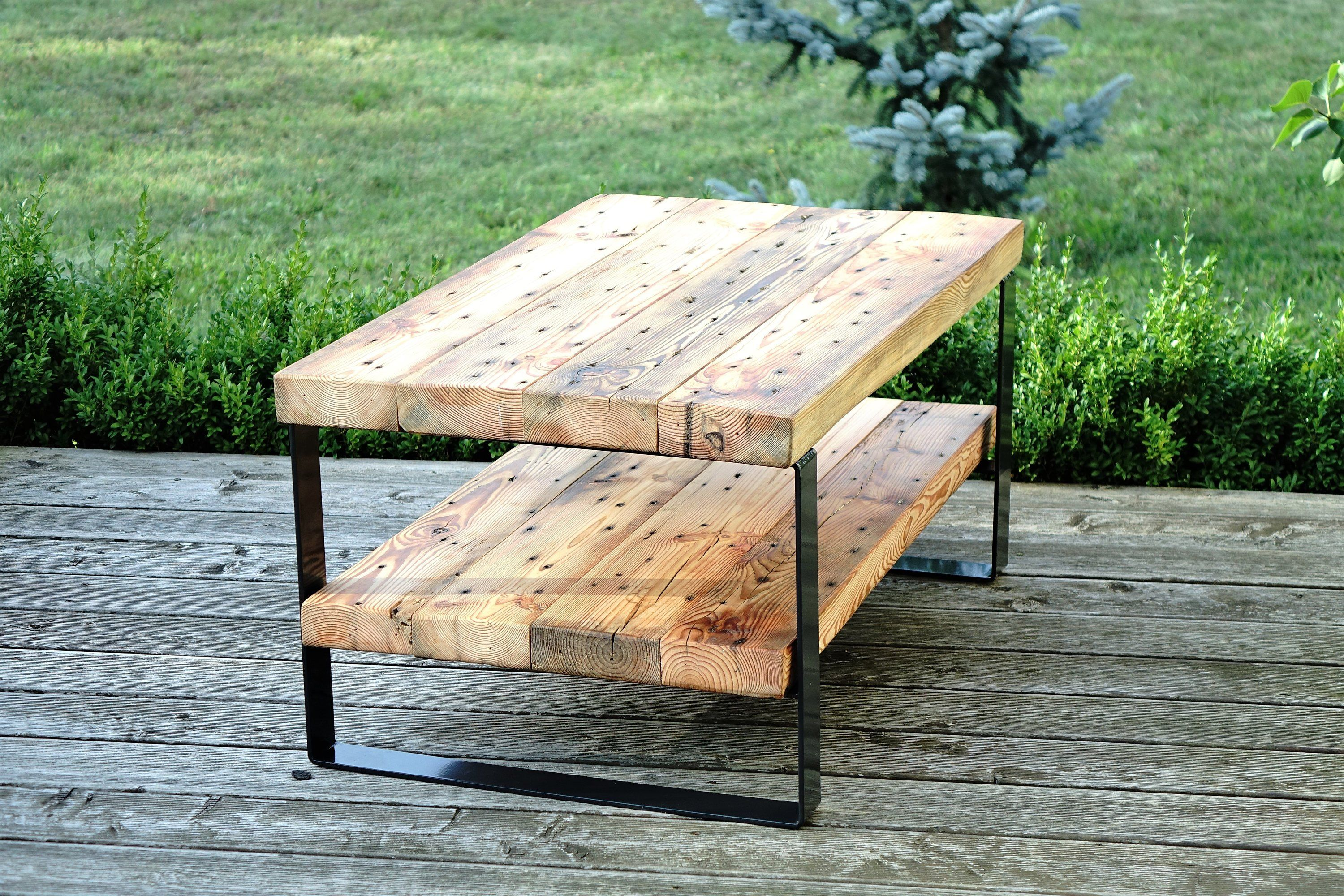 Reclaimed Wood Beam Coffee Table With Shelf 2 Level Coffee Table