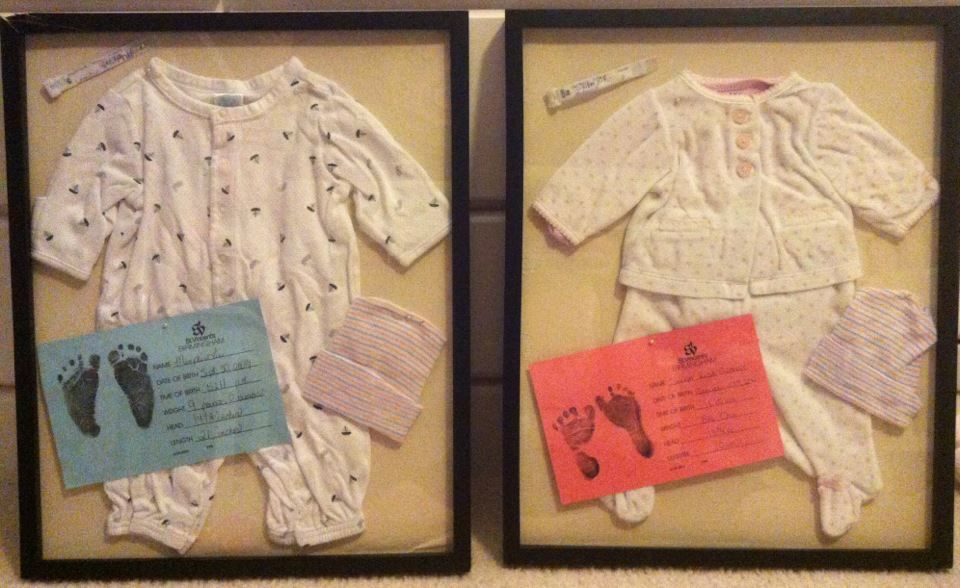 Shadow boxes with outfit your baby wore home, hospital bracelet, info card, and any other things you'd like to add