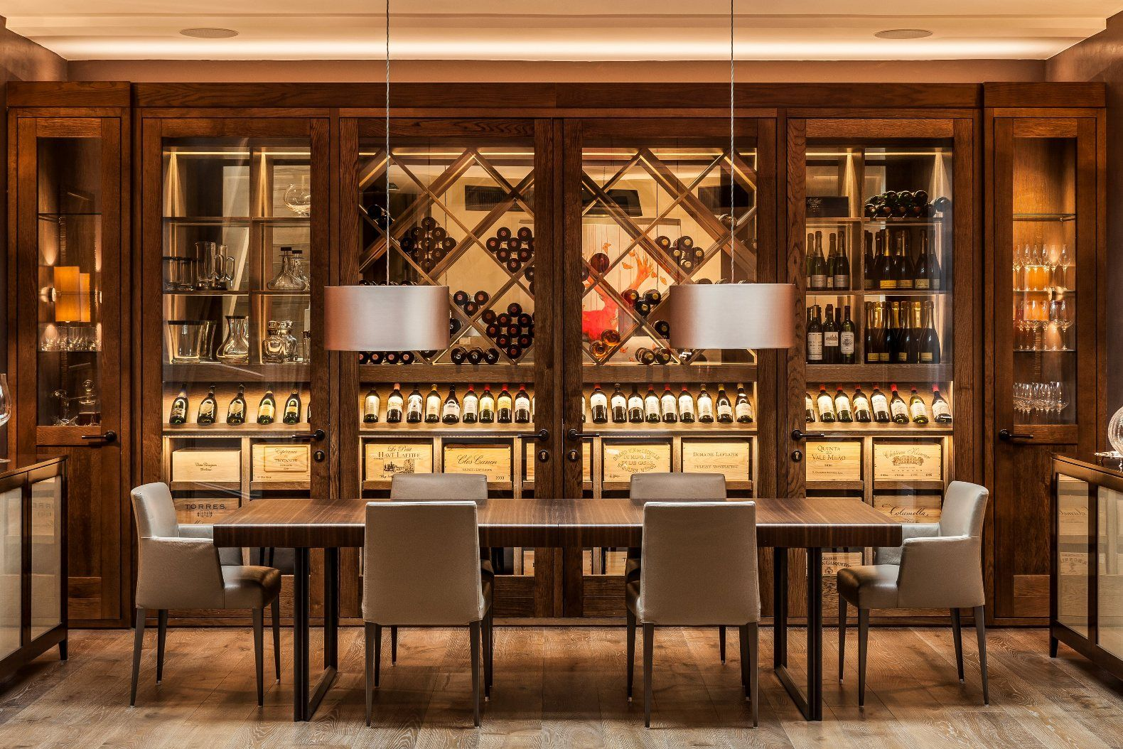 2. Fully conditioned stained Oak wine room