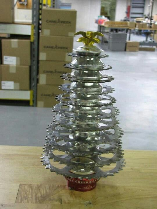 Cane Creek Bike Components Christmas Tree Recycled Bike Parts Bicycle Decor Bicycle Crafts
