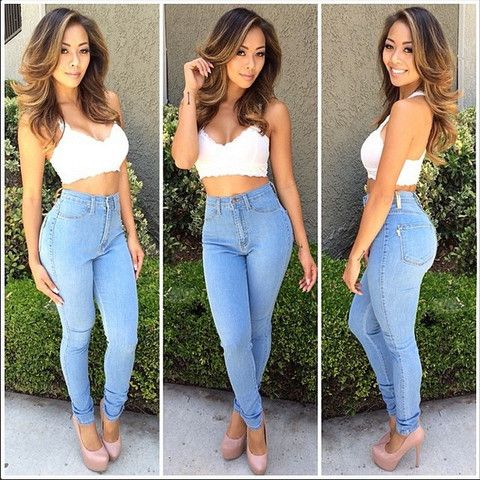 Light Blue Classic High Waist Skinny Jeans - Light Blue Classic High Waist Skinny Jeans Sumstyles Pinterest