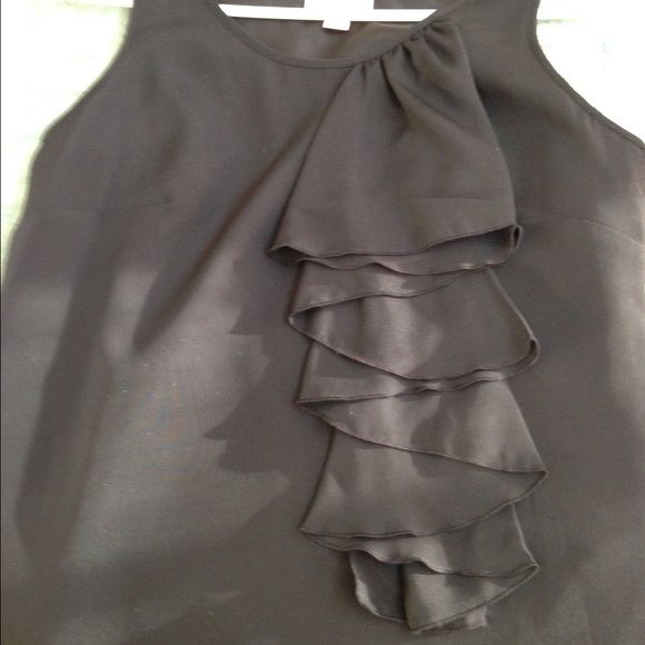 Black tank style dress Black tank style dress with ruffle detail. Easy to wear. NWT Merona Dresses