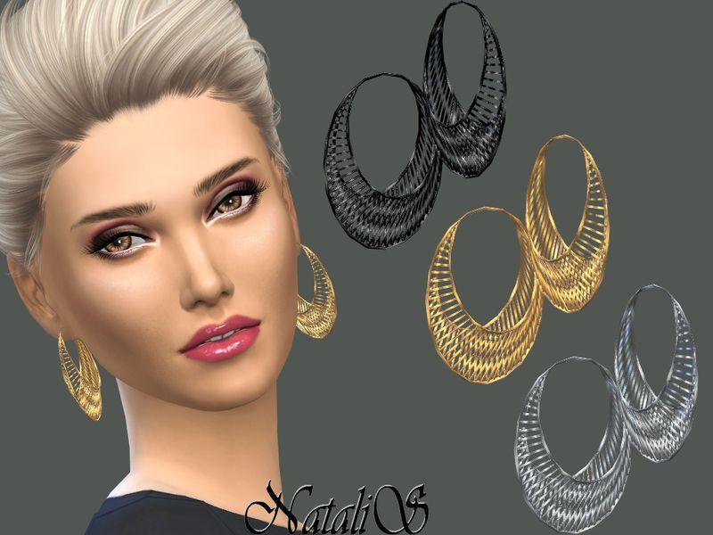 Wire Mesh Hoop Earrings Found In Tsr Category Sims 4 Female