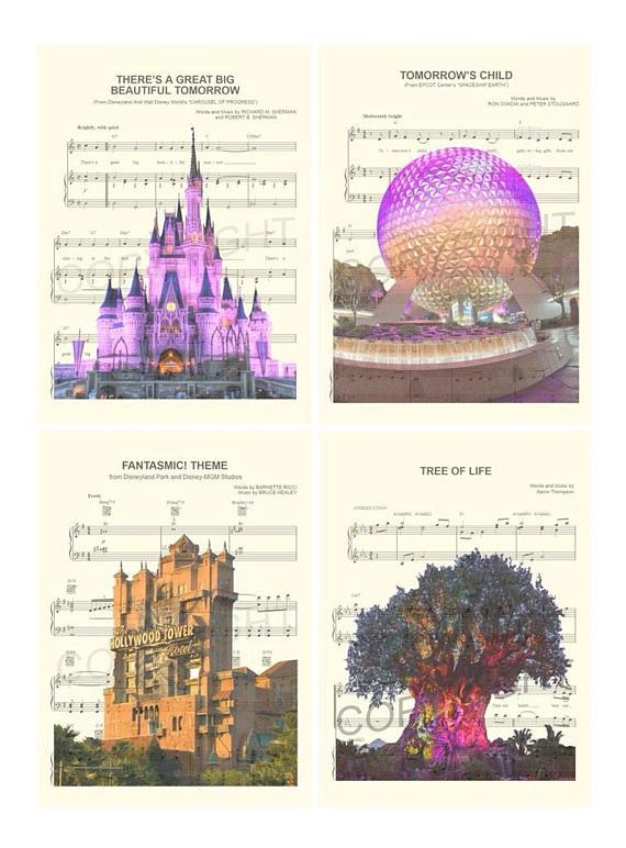 Walt Disney World Four Theme Parks Magic Kingdom Epcot Artprint Music Homedecor Wallart Kids Gifts Famliy Disney World Parks Disney Epcot Disney World