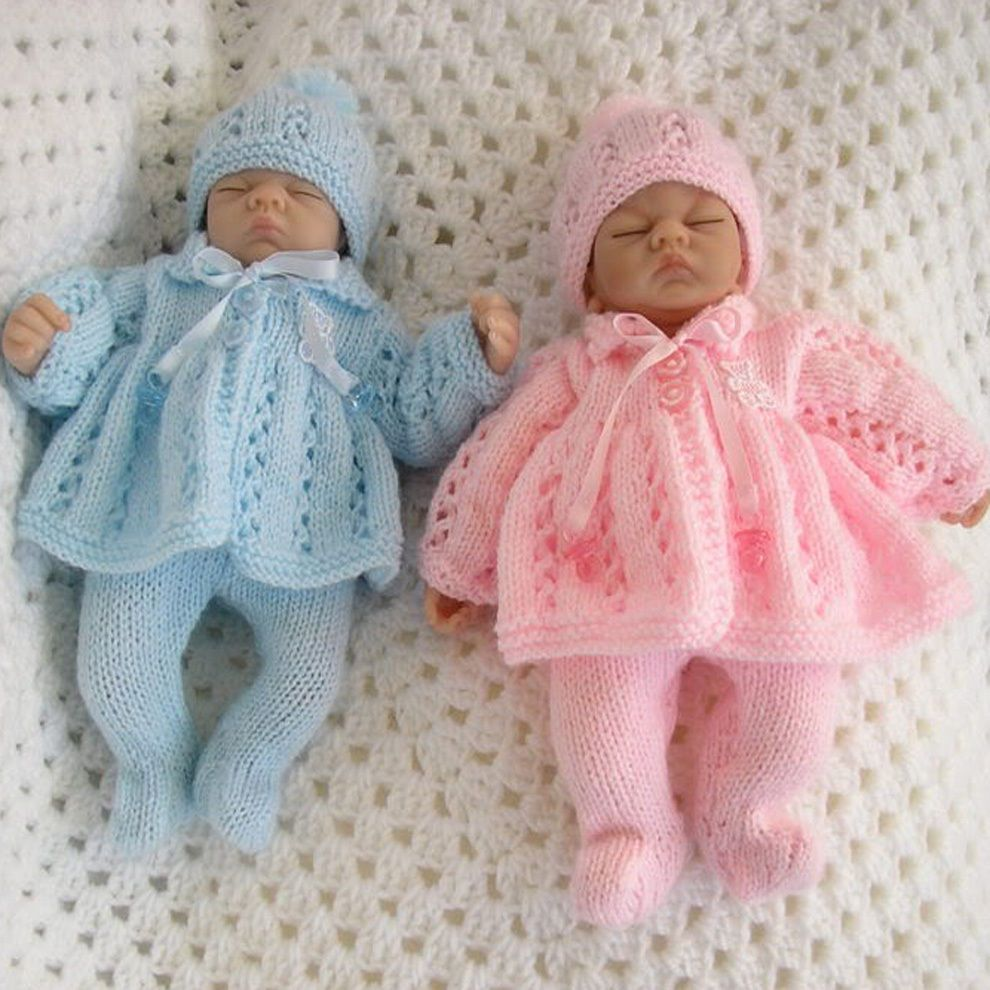 Creative Dolls Designs Knitting Pattern For Matinee Set 10 Doll Premature Baby Knitting Patterns Uk Knit Baby Doll Baby Doll Clothes