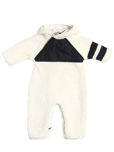MONCLER, Faux shearling romper, Off white, Luisaviaroma - Non-detachable hood . Cotton jersey lining