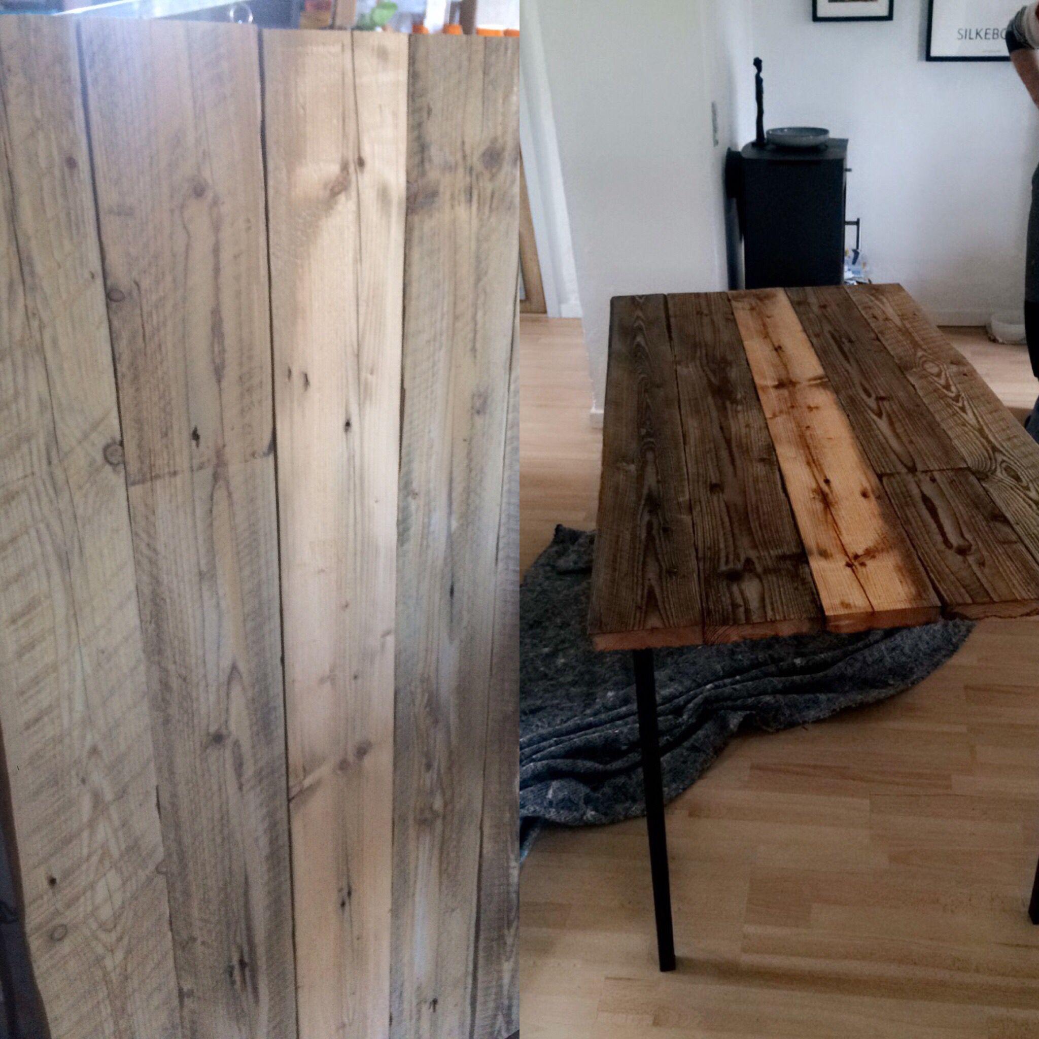 Før og efter behandlingen af træet! Mit første hjemmelavede rustikke bord, jeg er tilfreds.