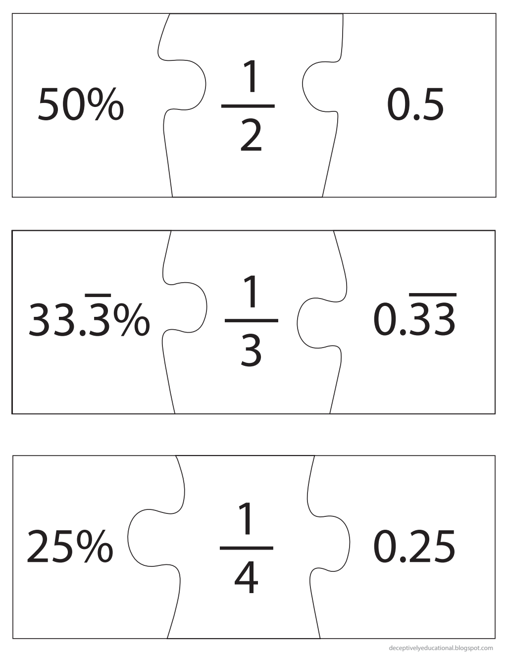 Fraction Decimal Percent Puzzles