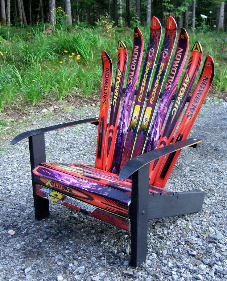Adirondack Chair Plans Made With Skis in 2020 Adirondack