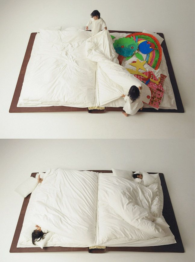 Photographer Yusuke Suzuki created a book bed that folds up during the day, so that there is ample space. At night, it unfolds into an over-sized book. What a brilliant concept that's sure to boost creativity!