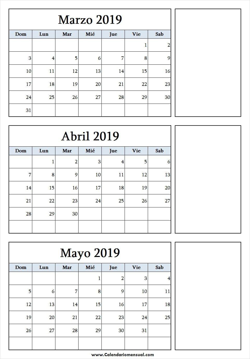 Calendario 2020 Marzo Abril.Calendario De Marzo Abril Y Mayo 2019 Para Imprimir March