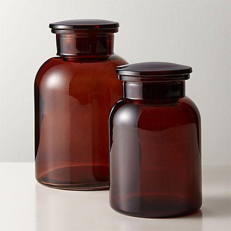 Almanzo Amber Canister Small Reviews Cb2 Modern Bathroom Accessories Decor Essentials Retro Home Decor
