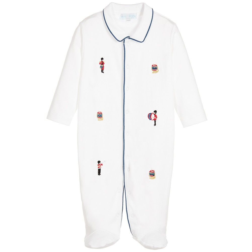 Mini-La-Mode - Boys White Pima Cotton Babygrow | Childrensalon