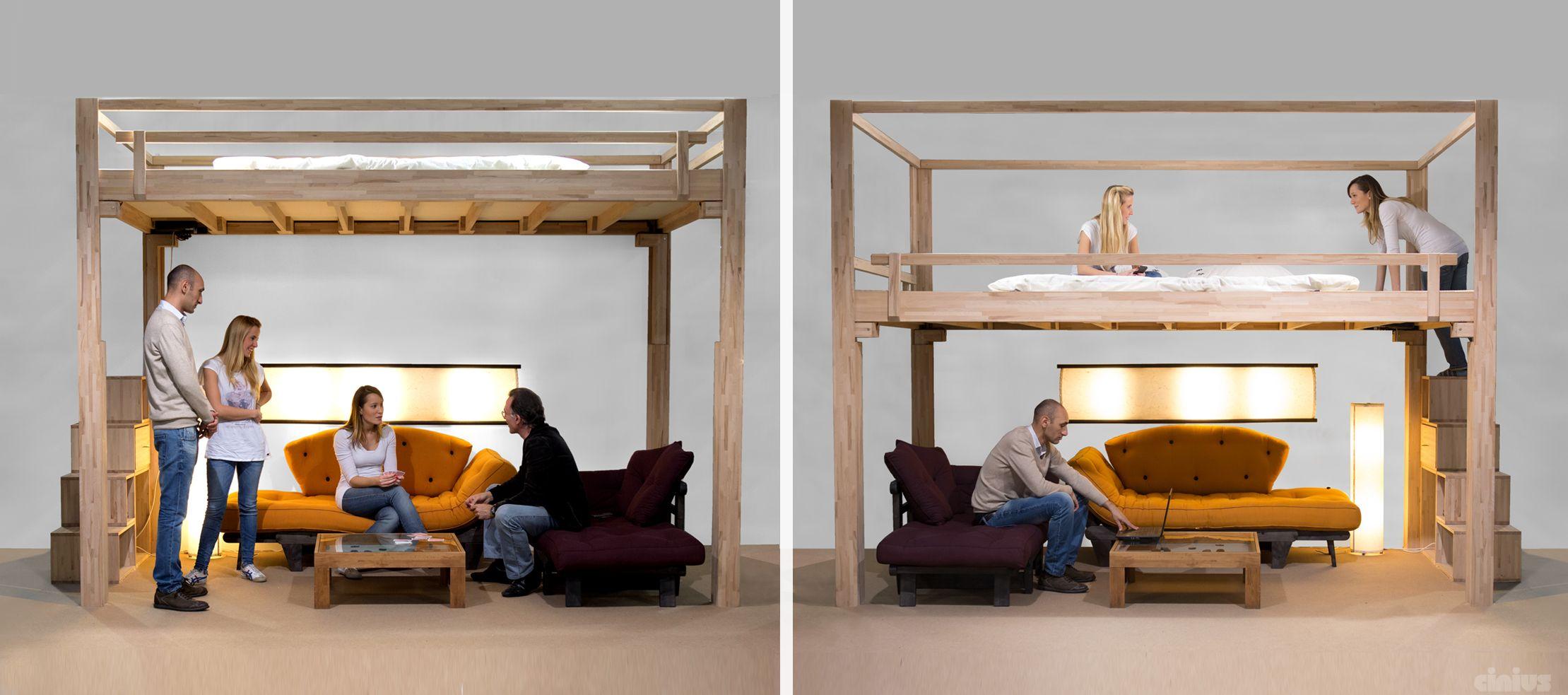 Cama alta de madera RISING by Cinius | Mini casas | Pinterest ...