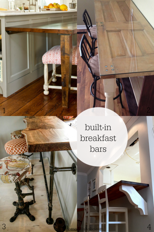 Different Patterns On Bar Stools Built In Breakfast Bar Tables Remodelaholic Kitchen Bar Table Bar Table Diy