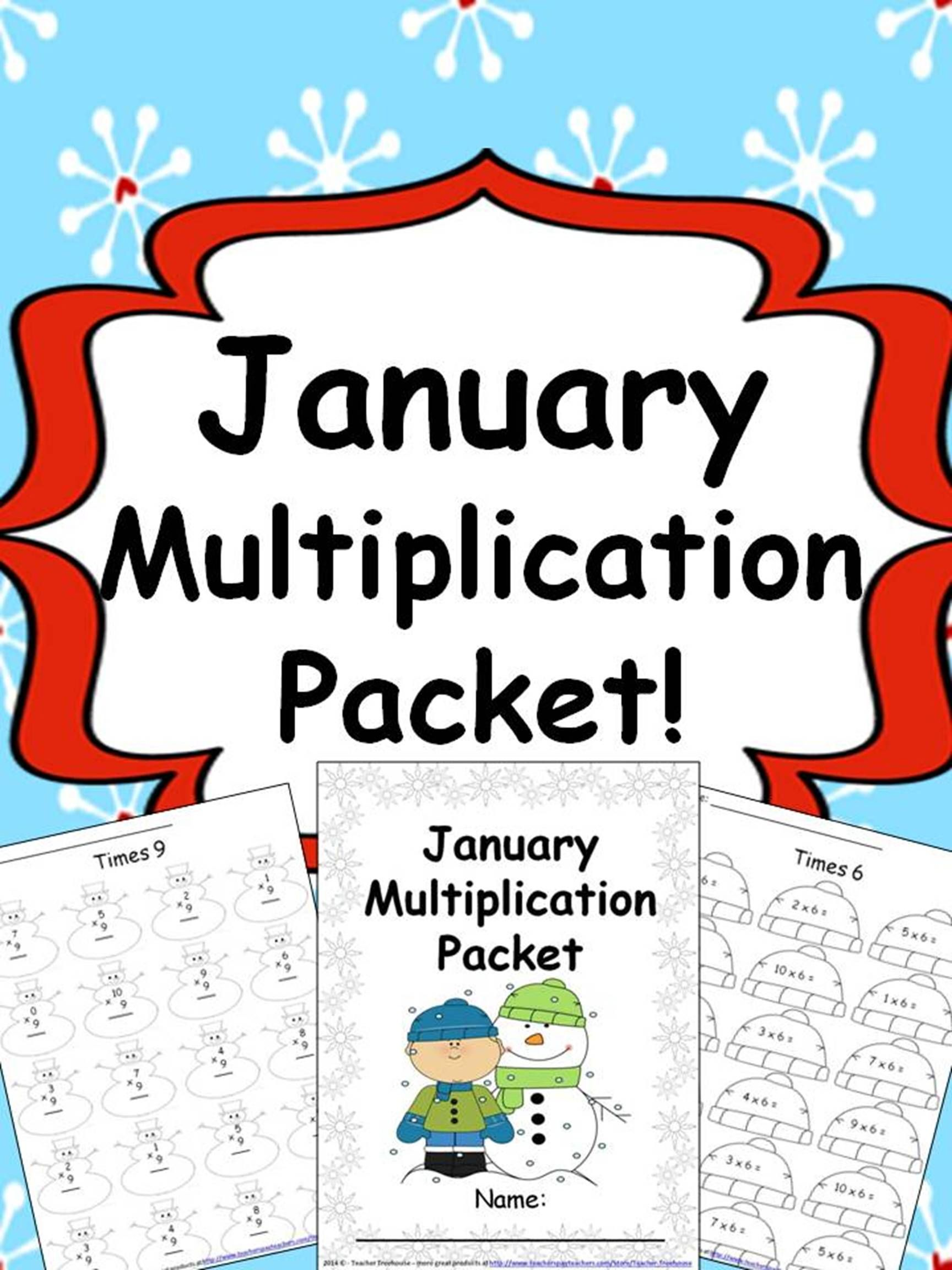 January Multiplication Packet Just Print Amp Go
