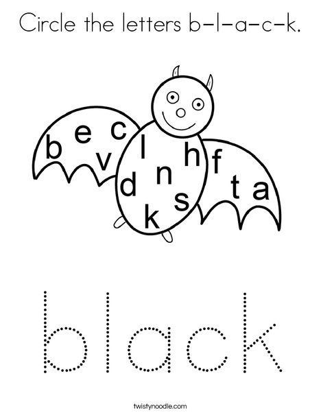 Circle the letters b-l-a-c-k Coloring Page - Twisty Noodle ...