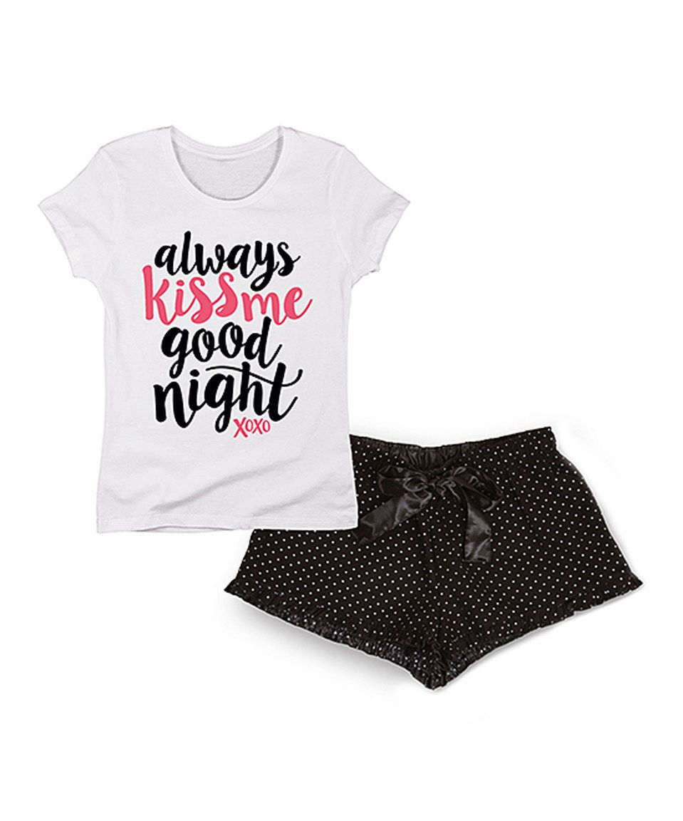 This Airwaves White & Black 'Always Kiss Me Goodnight' Lounge Tee & Shorts by Airwaves is perfect! #zulilyfinds