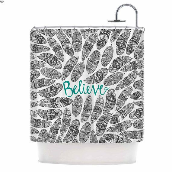 Believe Typography And Tribal Feathers Shower Curtain