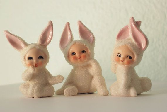 Vintage Lefton Snow Bunny Babies by RSWVintage on Etsy