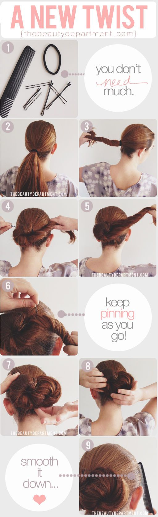 """This one is for the long-haired girls: a chic """"infinity"""" bun."""