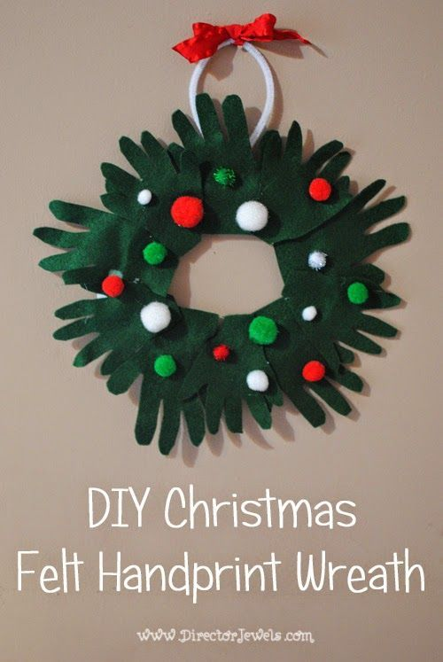 Easy Craft Christmas Ideas Part - 42: Director Jewels: DIY Kids Christmas Craft: Felt Handprint Wreath. Easy  Tutorial, Great