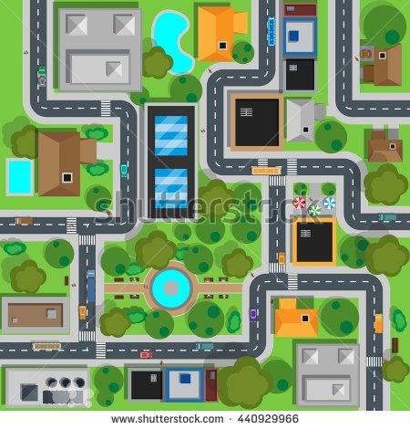 Map of city top view design flat. Map suburban settlement with private houses, narrow roads with cars and natural park design flat. Cars drive on sleeping residential district.  illustration