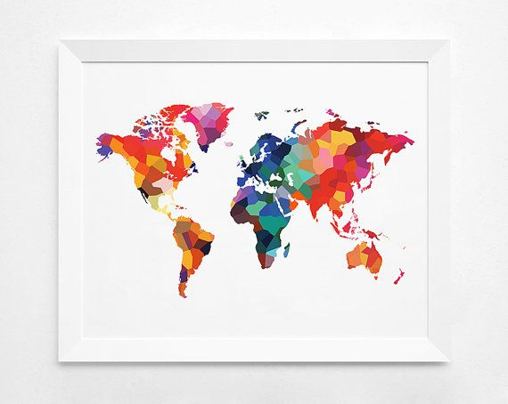 Geometric world map art print instant download printable decor geometric world map art print instant download by decorartdesign gumiabroncs Images