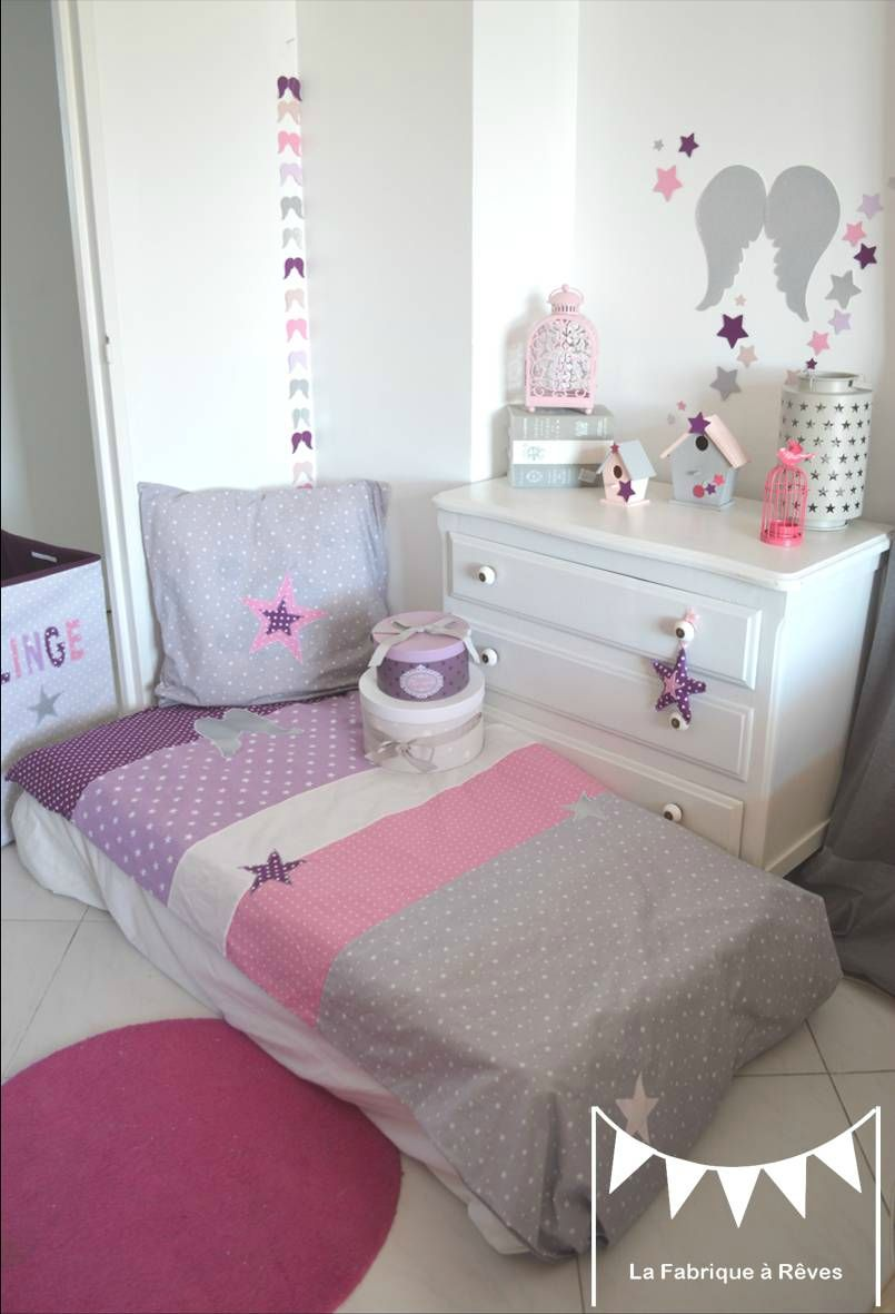 housse couette taie oreiller th me ange toiles parme mauve violet argent gris rose 2 juliette. Black Bedroom Furniture Sets. Home Design Ideas
