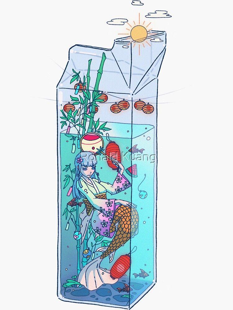 Tanabata Mermaid Drink Sticker