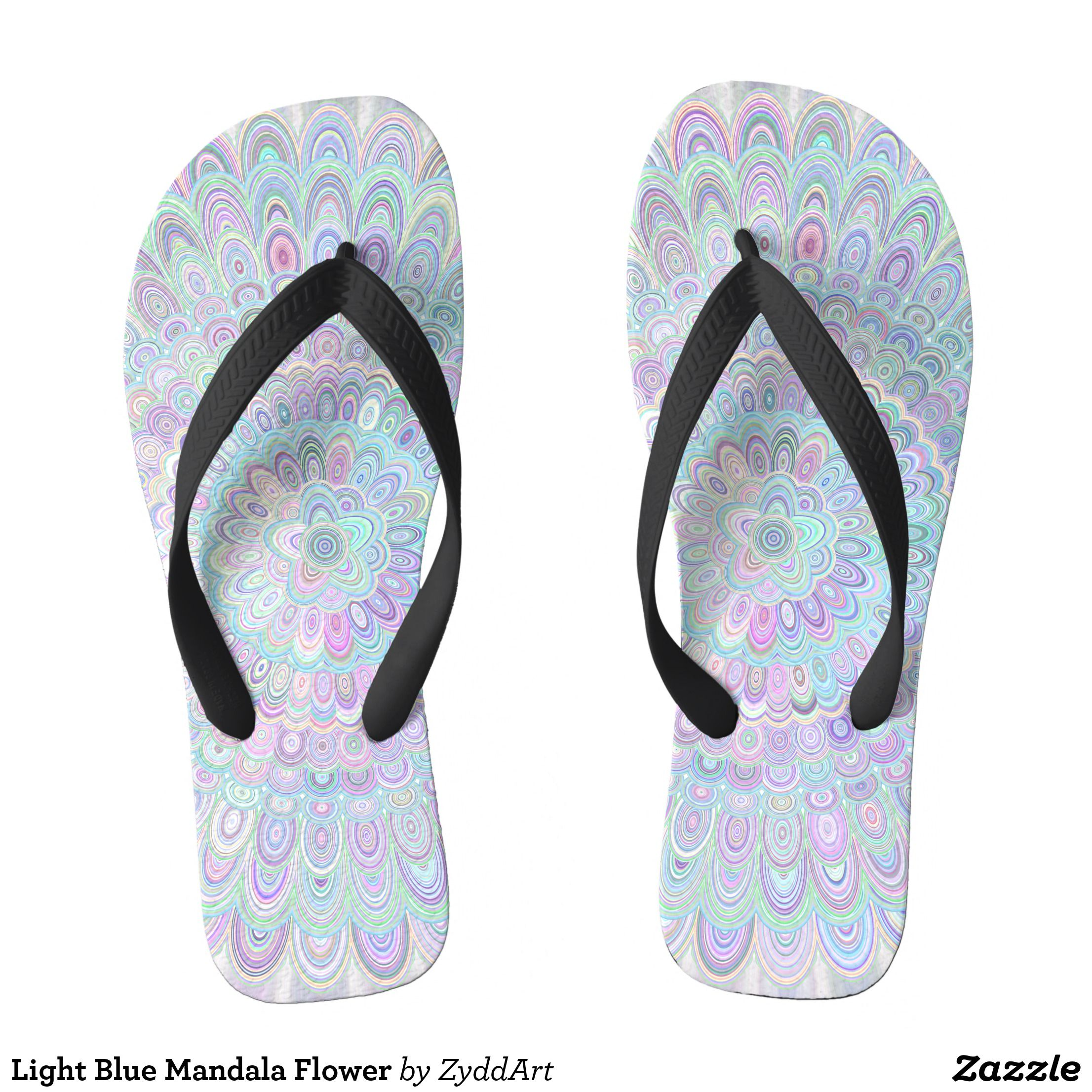 beb01cbbca7a Light Blue Mandala Flower Flip Flops - Durable Thong Style Hawaiian Beach  Sandals By Talented Fashion   Graphic Designers -  sandals  flipflops   hawaii ...