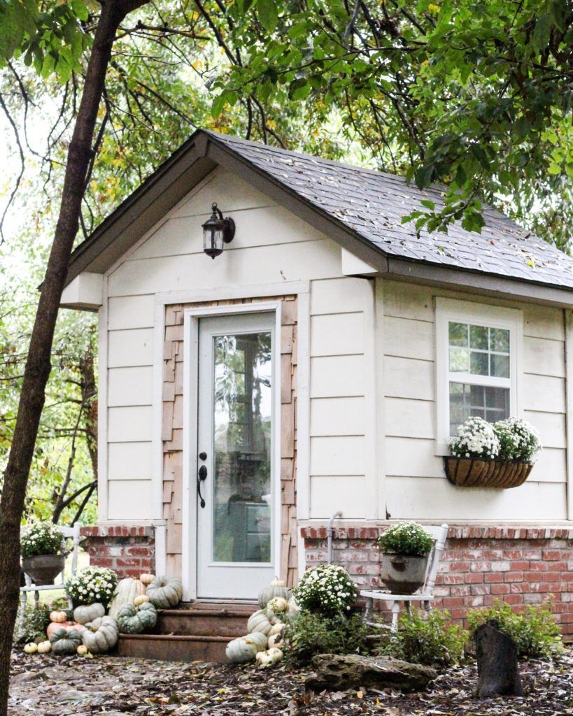 CottonStem.com cottage style she shed tiny home office pumpkins and ...