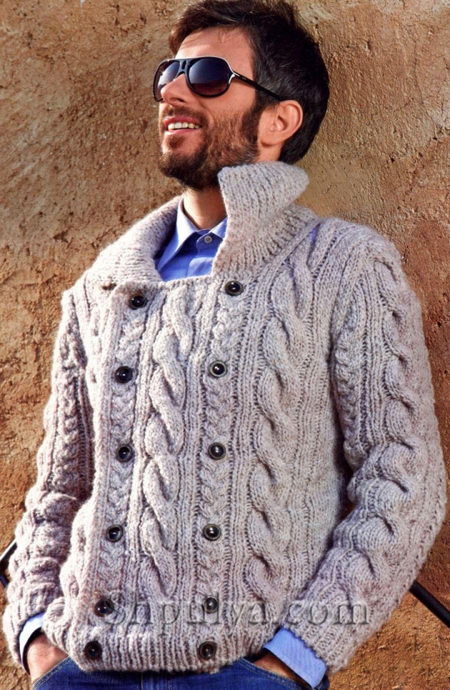 вязаный мужской кардиган с косами спицами Mens Sweaters мужской